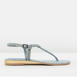 NIB Distressed Blue Suede T Strap Slingback Sandal